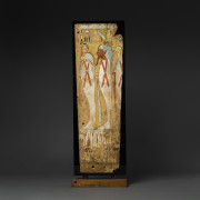 A Pair of Third Intermediate Period Painted Wooden Panels Detach