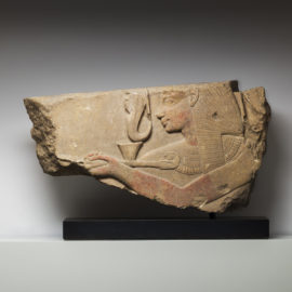 Limestone Fragment of a Relief Panel Depicting Seti I Offering Incense