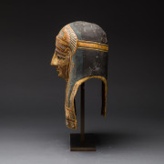 Egyptian Cartonnage Mask of a Man Wearing an Elaborate Painted Headdress
