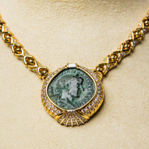 Diamond Studded Gold Necklace Featuring a Roman Bronze Sestertius of Emperor Gordian III