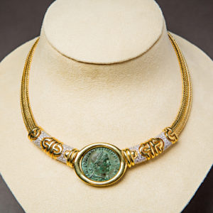 Gold Necklace Featuring a Roman Bronze Sestertius of Emperor Philip I