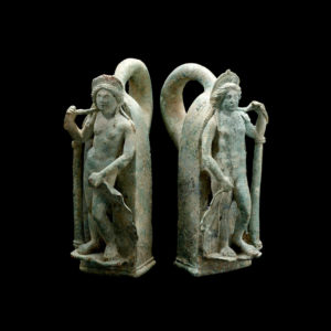 Pair of Roman Bronze Chariot Handles in the Form of Venus