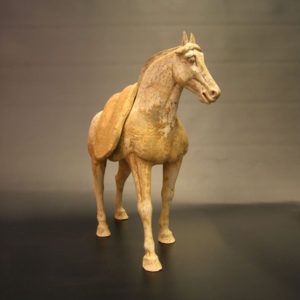 Early Tang Painted Pottery Horse with Detachable Saddle