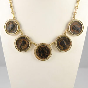 Gold Necklace Featuring Five Roman Bronze Coins