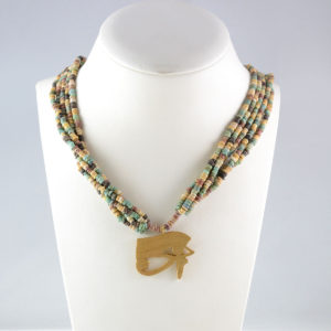 Five Strand Egyptian Faience Bead Necklace with a Gold Eye of Horus Pendant