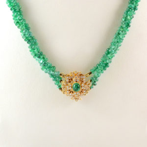 Three Strand Emerald Bead Necklace