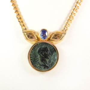 Gold Necklace featuring a Bronze Sestertius of Roman Emperor Severus Alexander