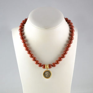 Red Jasper Bead Necklace Featuring a Silver Denarius of Roman Emperor Hadrian