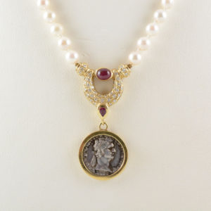 Pearl Necklace with Roman Silver Denarius of Emperor Domitian