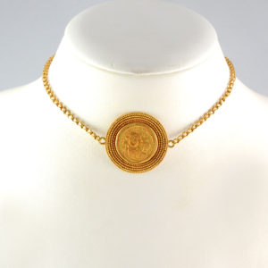 Byzantine Revival Gold Necklace Featuring a Byzantine Gold Coin of Emperor Heraclius