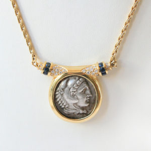 Gold Necklace Featuring a Silver Coin of Alexander the Great