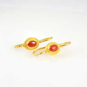 22 Karat Gold Earrings with Carnelian