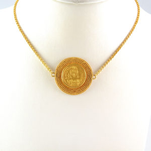 Byzantine Revival Gold Necklace Featuring a Byzantine Gold Coin Emperor Justinian I