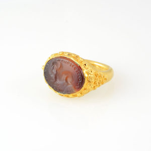 Parthian Gold Ring with a Carnelian Intaglio