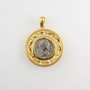 Gold Pendant with Silver Denarius of Emperor Geta