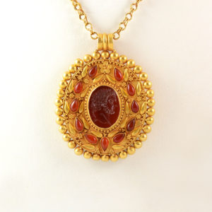 Classical Revival Gold Necklace Featuring a Roman Carnelian Intaglio of Emperor Caracalla