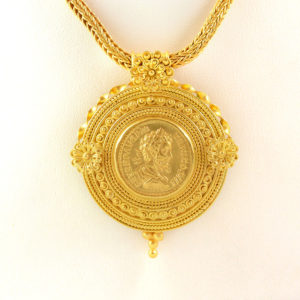 Classical Revival Gold Necklace with a Coin Pendant