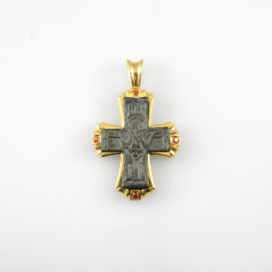 18 Karat Gold Pendant with Garnets Featuring a Byzantine Bronze Cross
