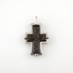 18 Karat White Gold Pendant Featuring a Byzantine Bronze Cross