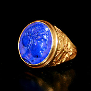 Lapis Lazuli Cameo Mounted On an 18 Karat Gold Ring