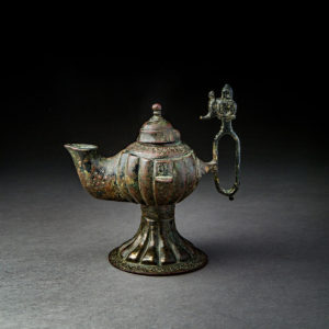 Bronze Oil Lamp with Silver Inlay