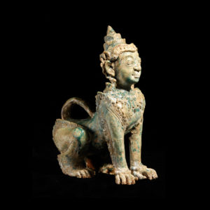Khmer Glazed Terracotta Sphinx