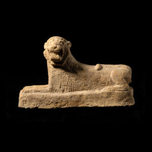 Assyrian Terracotta Sculpture of a Recumbent Lion