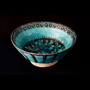Turquoise Glazed Painted Bowl