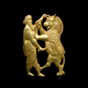 Achaemenid-Style Gold Plaque of a King Fighting a Rampant Lion