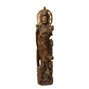 Qing Dynasty Gilt Wooden Sculpture of Guanyin