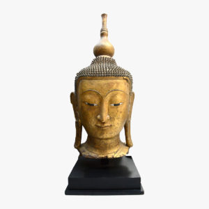 Large Shan Gilt Wood Head of Buddha