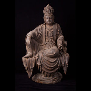 Ming Lacquered Wood Sculpture of Guanyin
