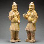 Sui Pair of Glazed Terracotta Military Officers
