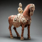 Tang Sculpture of a Horse and Foreign Rider