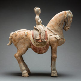 Tang Painted Terracotta Sculpture of a Horse and Female Rider