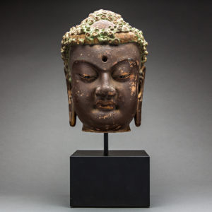 Gilded Wooden Head of Buddha