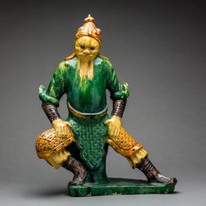 Sancai Glazed Roof Tile in the form of a Standing Warrior