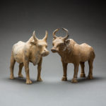 Pair of Tang Pottery Bulls
