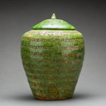 Green-Glazed Buddhist Reliquary with Sanskrit Inscriptions