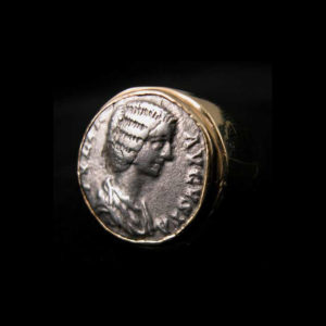 Gold Ring with Silver Denarius of Empress Julia Domna