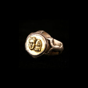 Classical Revival Silver Ring Featuring a Gold Coin2