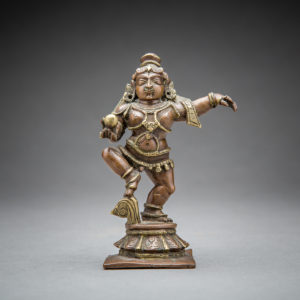 Brass Figure of Krishna Dancing with a Butter Ball