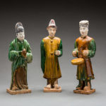 Set of Three Ming Glazed Terracotta Attendants