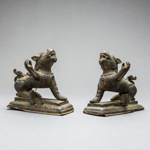 Pair of Bronze Snow Lions