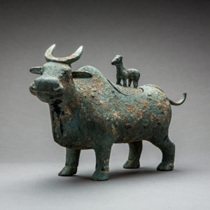 Bronze Bull Vessel with Lid