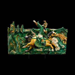Pair of Glazed Ceramic Panels Featuring a Horse Rider Amidst Mountain Peaks2