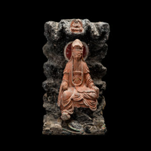 Ming Polychrome Carved Rock Shrine Piece1