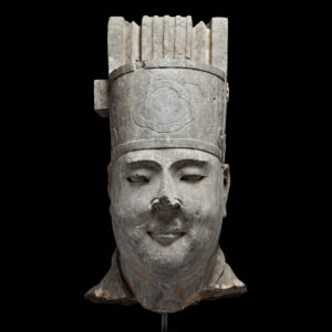 Tang Large Stone Sculpture Depicting the Head of a Civic Official