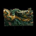 Pair of Ming Glazed Temple Wall Tiles Depicting a Dragon