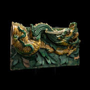 Pair of Ming Glazed Terracotta Temple Wall Tiles Depicting a Dragon